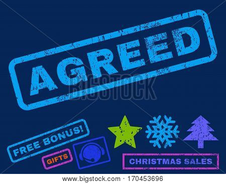Agreed text rubber seal stamp watermark with additional bonus new year symbols. Caption inside rectangular banner with grunge design and dirty texture.