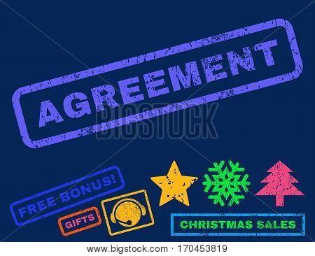 Agreement text rubber seal stamp watermark with bonus christmas symbols. Caption inside rectangular shape with grunge design and dust texture.