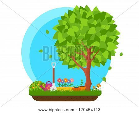 spring garden with flower and tree colorful vector illustration