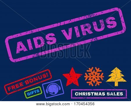 AIDS Virus text rubber seal stamp watermark with bonus new year symbols. Caption inside rectangular shape with grunge design and dirty texture.
