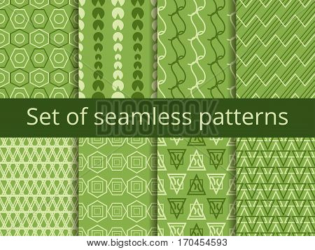 Set Of Seamless Patterns With Geometric Shapes. Greenery Color. Vector Illustration
