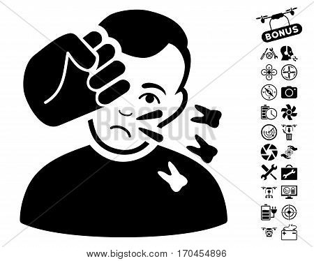 Head Strike pictograph with bonus nanocopter service images. Vector illustration style is flat iconic black symbols on white background.