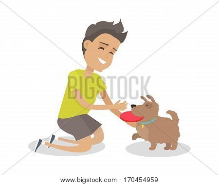 Smiling boy playing frisbee with his dog. Dog with toy. Dog playing in flying disk. Boy and his pet. Brown dog is ready to play frisbee. Isolated vector illustration on white background