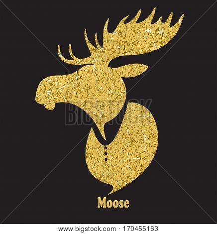 Golden moose head.Vector silhouette on black background.