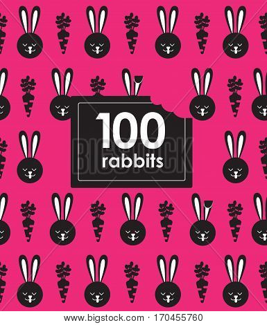 Seamless pattern with bunny and carrot. Rabbit pattern.