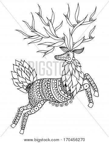 Zentangle stylized deer. Black white hand drawn doodle. Ethnic patterned vector illustration. African indian totem tribal design. Sketch for adult antistress coloring page tattoo poster print t-shirt - stock vector