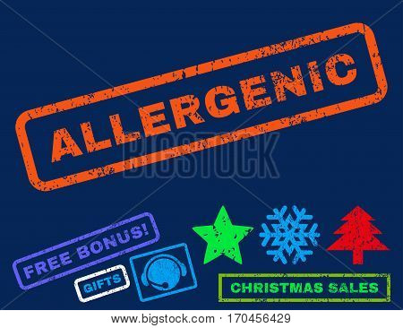 Allergenic text rubber seal stamp watermark with additional bonus christmas symbols. Caption inside rectangular banner with grunge design and dust texture.