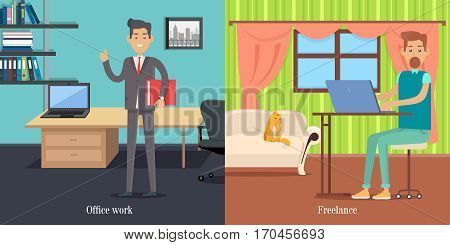 Office worker at working place. Freelancer at work. Elegant male with documents folder. Successful businessman. Young people. Poster shows difference between work at home or in office. Vector