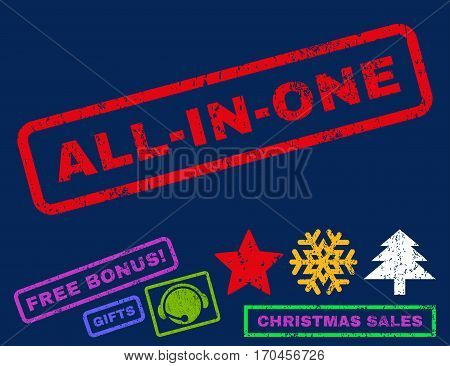 All-In-One text rubber seal stamp watermark with additional bonus new year symbols. Tag inside rectangular banner with grunge design and dust texture.