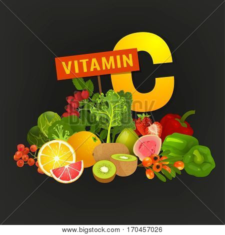 Vitamin C vector illustration. Foods containing ascorbic acid with a letter. Source of vitamin C, fruits and vegetables - fresh oranges, strawberries, berries, greens isolated on dark grey background