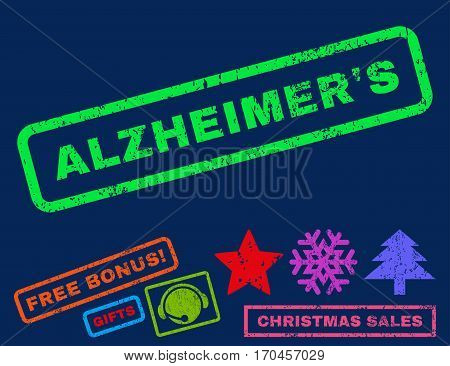 Alzheimer S text rubber seal stamp watermark with additional bonus new year symbols. Caption inside rectangular banner with grunge design and unclean texture.