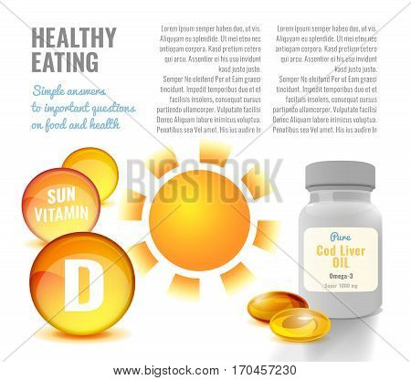 Vitamin D flyer or leaflet temeplate with glossy orange capsules palstic can. Beautiful vector illustration in bright colours on light background. Pharmaceutical and apothecary image