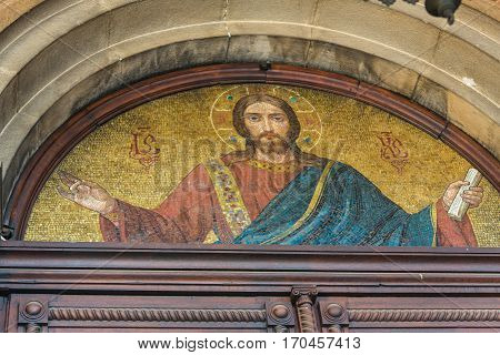 TRIESTE, ITALY - December 19: Mosaic of Saint Michael on the facade of the Serbian Orthodox Church in Trieste on December 19. 2016 in Trieste, Italy.