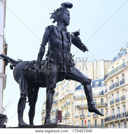 Paris, France - February 8, 2016: Monument Centaure Cesar in Paris, France