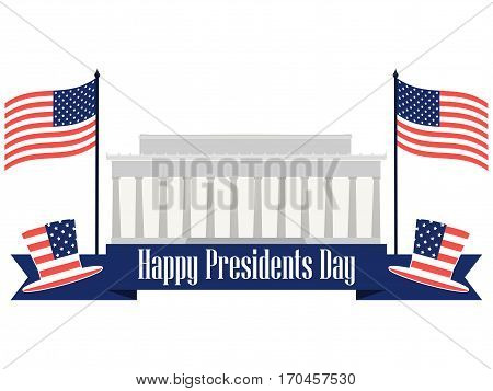 Happy Presidents Day. Banner With American Flag And Symbols. Vector Illustration