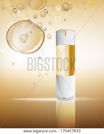 White glass flacon with golden elements. Beautiful vector illustration in realistic style. Cosmetic, skin care or perfumery concept in light beige colours. Premium design template.
