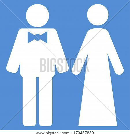Just Married Persons vector icon symbol. Flat pictogram designed with white and isolated on a blue background.