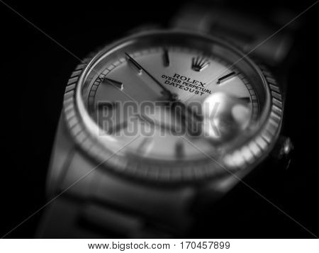 VALENCIA, SPAIN - JANUARY 28: Close up macro view from Rolex Oyster Perpetual Datejust. This Model was manufactured in 2003. Photos taken on January 28, 2017 in Valencia, Spain