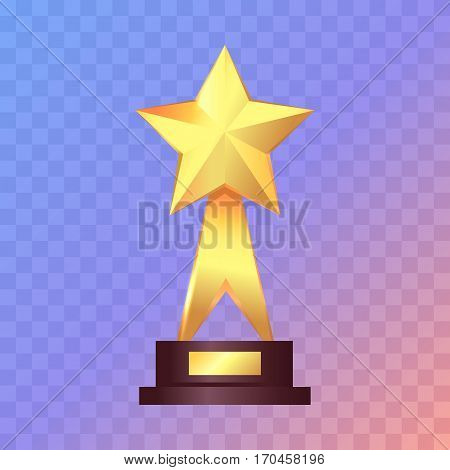 Best gold star trophy standing. Shiny, glossy prize with star on top and two offshoots. Little brown basement. Winning. Flat design. Vector illustration.