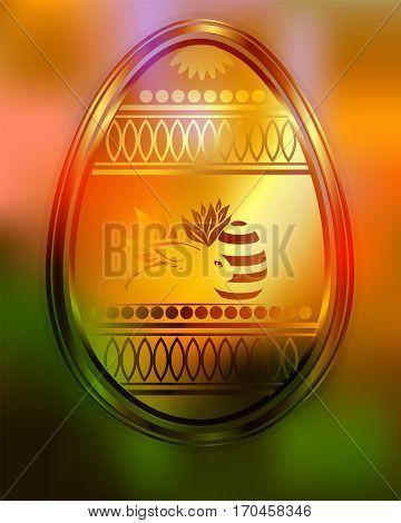 bright orange, green background, design of silhouette Easter eggs and rabbit