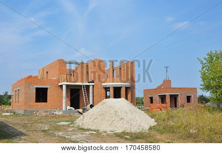 Building house - the construction process. Home Building Process. Construction site.