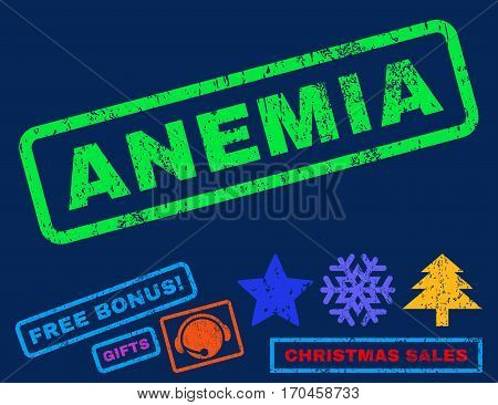 Anemia text rubber seal stamp watermark with additional bonus new year symbols. Caption inside rectangular banner with grunge design and unclean texture.