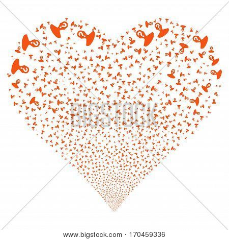 Unknown Person fireworks with heart shape. Vector illustration style is flat orange iconic symbols on a white background. Object love heart organized from random design elements.