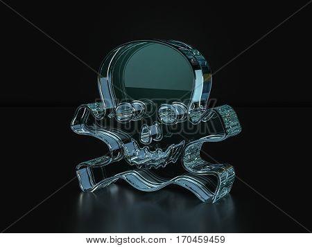 Glass Skull Symbol  3D Illustration