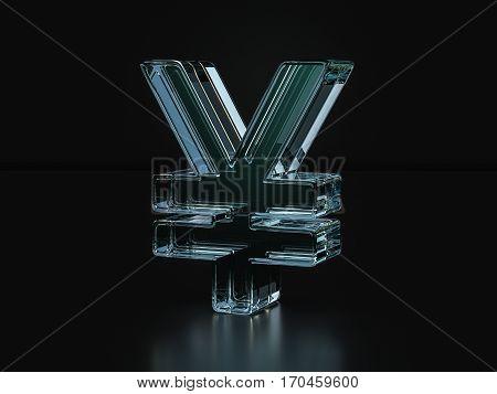 Glass Yen Symbol  3D Illustration