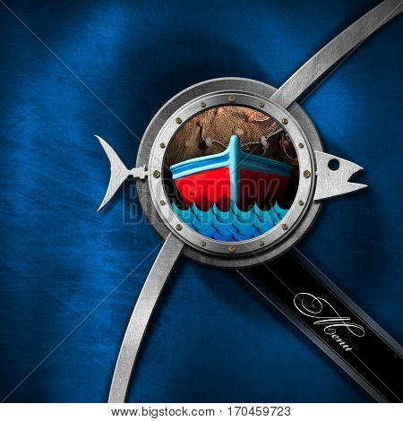 Square seafood menu with porthole metal fish boat blue waves and fishing net on a blue and metallic background with text Menu