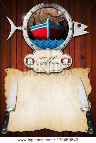 Template for a seafood menu with metal porthole in the shape of a fish label and empty parchment with kitchen knives on wooden wall