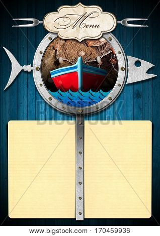 Template for a seafood menu with a porthole in the shape of a fish label forks and two yellow empty pages with copy space