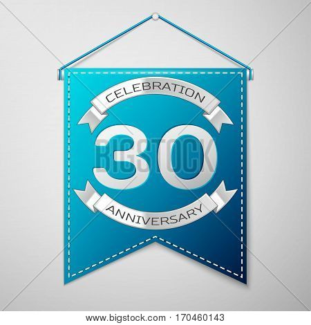 Blue pennant with inscription Thirty Years Anniversary Celebration Design over a grey background. Silver ribbon. Colorful template elements for your birthday party. Vector illustration