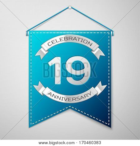 Blue pennant with inscription Nineteen Years Anniversary Celebration Design over a grey background. Silver ribbon. Colorful template elements for your birthday party. Vector illustration