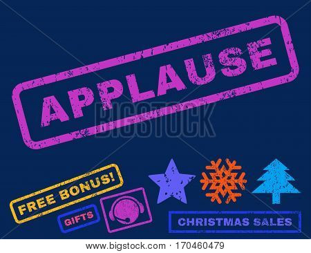 Applause text rubber seal stamp watermark with bonus christmas symbols. Tag inside rectangular banner with grunge design and unclean texture.