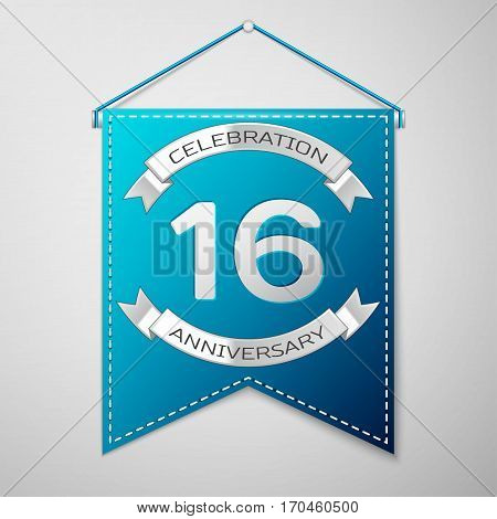 Blue pennant with inscription Sixteen Years Anniversary Celebration Design over a grey background. Silver ribbon. Colorful template elements for your birthday party. Vector illustration