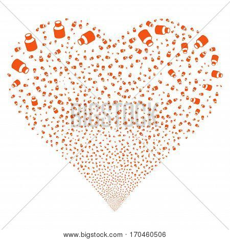 Vial fireworks with heart shape. Vector illustration style is flat orange iconic symbols on a white background. Object heart combined from confetti pictographs.
