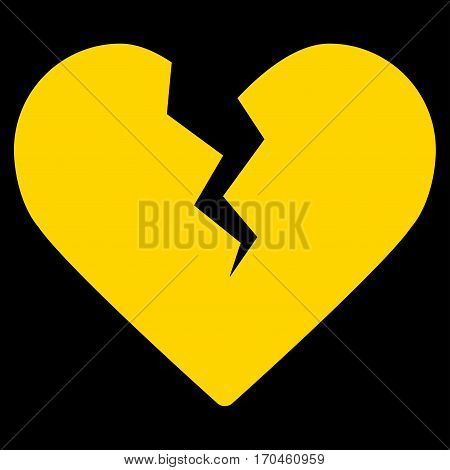 Divorce Heart vector icon symbol. Flat pictogram designed with yellow and isolated on a blue background.