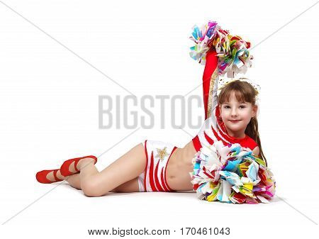 Cheerleading Girl With Pompoms
