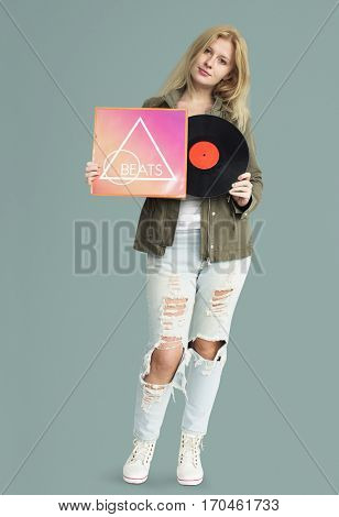 Woman Smiling Happiness Vinyl Music Record