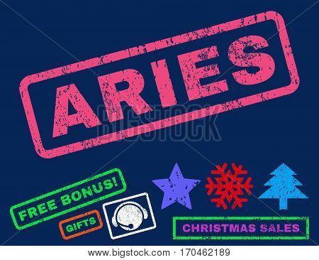 Aries text rubber seal stamp watermark with bonus new year symbols. Tag inside rectangular banner with grunge design and dirty texture.