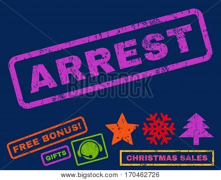 Arrest text rubber seal stamp watermark with additional bonus new year symbols. Caption inside rectangular shape with grunge design and dirty texture.