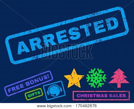 Arrested text rubber seal stamp watermark with bonus new year symbols. Tag inside rectangular shape with grunge design and dust texture.