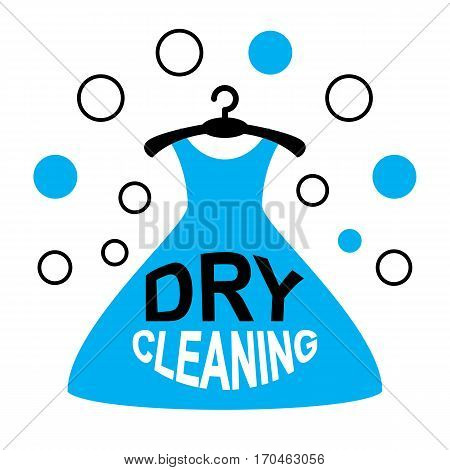 Dry Cleaning Logo with a Hanger and Dress Isolated on White Background