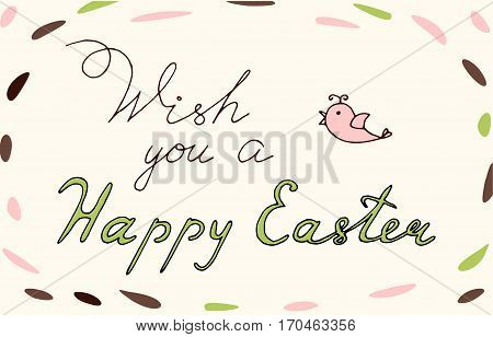 Easter vector vintage phrase Wish you a happy Easter. Easter T shirt Hand lettering. Vector. Hand drawn typography poster. Conceptual handwritten phrase.