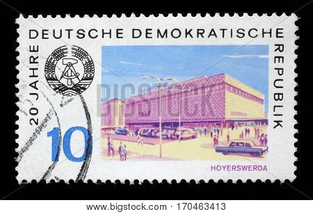 ZAGREB, CROATIA - JULY 02: a stamp printed in GDR shows View of Hoyerswerda, circa 1969, on July 02, 2014.