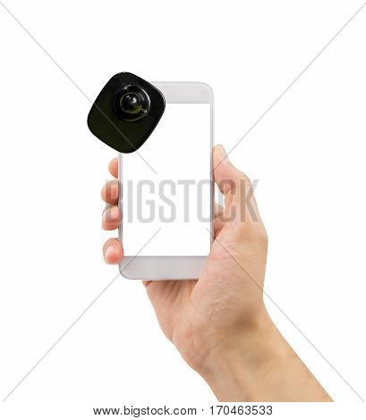 hand holding the smartphone with security tag