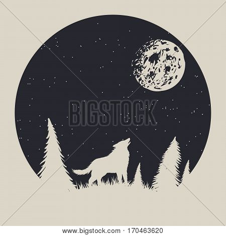 Vintage label with wolf who howling to moon. Strange night in forest.T-shirt prints design