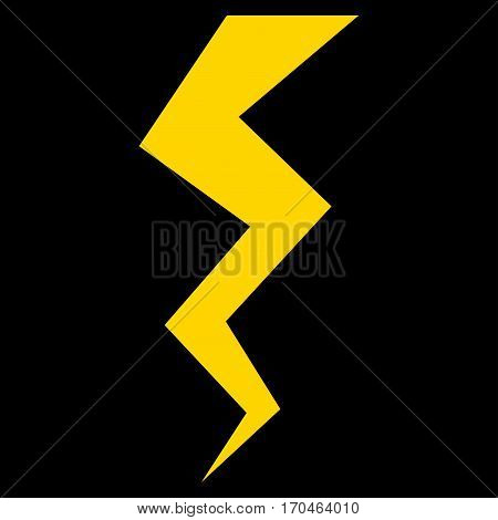 Thunder Crack vector icon symbol. Flat pictogram designed with yellow and isolated on a blue background.