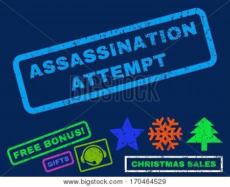 Assassination Attempt text rubber seal stamp watermark with bonus christmas symbols. Caption inside rectangular shape with grunge design and dirty texture.